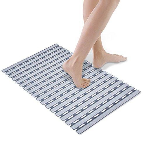 Bathtub Mat, HALOViE Shower Mats Non-Slip Mildew Resistant Anti-Bacterial Superior Grip & Drainage 114 Suction Cups Highest Quality Materials 24.80'' x 15.75'' Gray by HALOViE