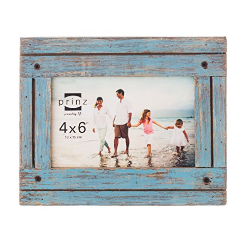 PRINZ Homestead Distressed Wood Frame, 4 by 6-Inch, Blue