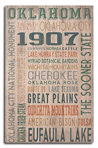Oklahoma - Rustic Typography (10x15 Wood Wall Sign, Wall Decor Ready to Hang) ()