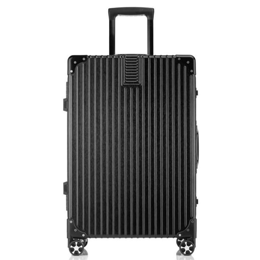 スーツケーストロリー手持ちのキャビン荷物ハードシェルトラベルバッグ軽量4スピナーホイール B07TGCCFPC Black 35*23*54cm