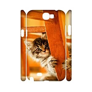 3D Samsung Galaxy Note 2 Case Hidden Cat, [White]