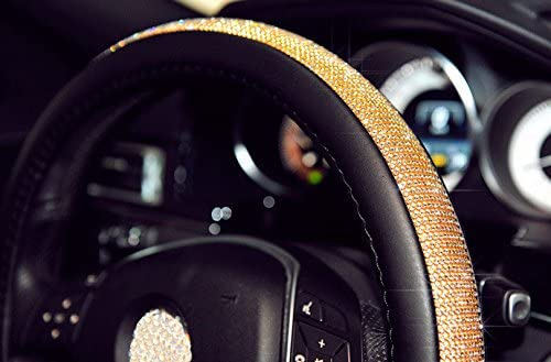 Gold Black ISTN Steering Wheel Cover,with PU Leather Bling Bling Rhinestones Case