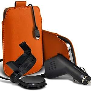 Nokia Lumia 900 premium protección PU ficha de extracción Slip In Pouch Pocket Cordón Piel Con 12v USB Micro Cargador para el coche y 360 giratorio del parabrisas del coche sostenedor de la horquilla de Orange por Spyrox