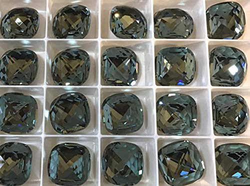 World's Natural Treasures - 2 Pieces 4461 Indian Sapphire 16mm Swarovski Crystal Fancy Classical Square - Huge Selection of Beading Accessories