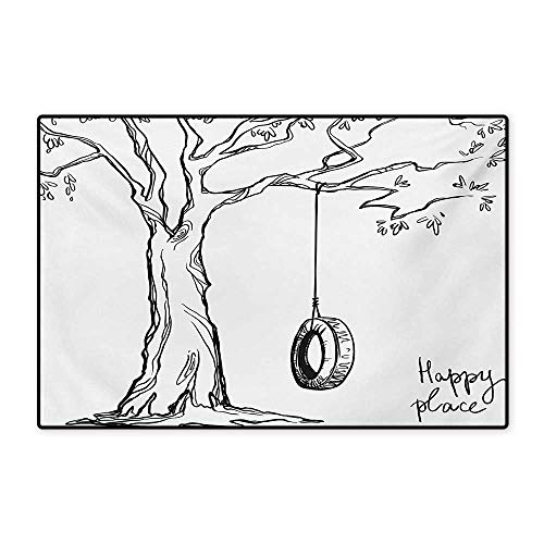 Tree Door Mats for Home Tree with a Tire Swing Illustration Happy Place Summer Childhood Holidays Garden Bath Mat for Bathroom Mat 16