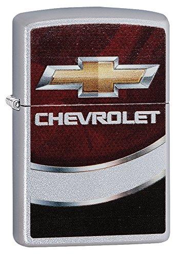 Zippo chevy Logo Pocket Lighter, Satin Chrome