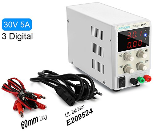DC Bench Power Supply Variable, Pevono PS305 0-30V/0-5A 3 Digital LCD Display High Voltage&Current Adjustable Switching Regulated Power Supply with US Power Cord For Lab Equipment,Research and - Variable Supplies Dc Power