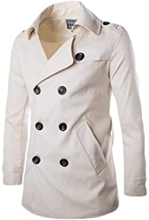 ARTFFEL-Men Warm Single Breasted Faux Fur Collar Long Outdoor Wool Pea Coat Overcoat