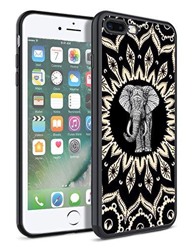 Matcase iPhone 7 Plus Case iPhone 8 Plus Case - Mandala Elephant Hard Clear Transparent Anti Scratch Resistance Full Protection TPU Bumper Designer Case