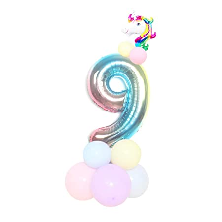 SHengyan Atractivo 1 Juego Unicornio Cumpleaños Globos 32 Inch Arcoiris Número Globo Fiesta Cumpleaños Decoración para Hogar Decoración - 32 Inches ...