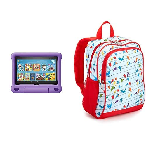 Fire HD 8 Kids Tablet 32GB Purple with Made for Amazon Kids Tablet Backpack, Birds