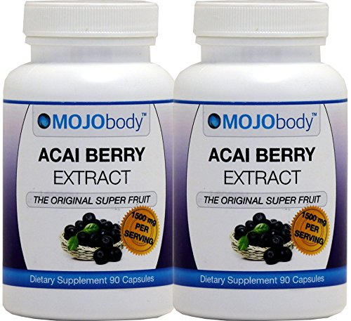 Radical 90 Fruits Capsules (MOJObody Acai Berry Extract, 1500mg 90 Capsules, 2 Bottles Pack,The Original Super Fruit, Boost Energy, Helps with Weight Loss,Combats Free Radicals)