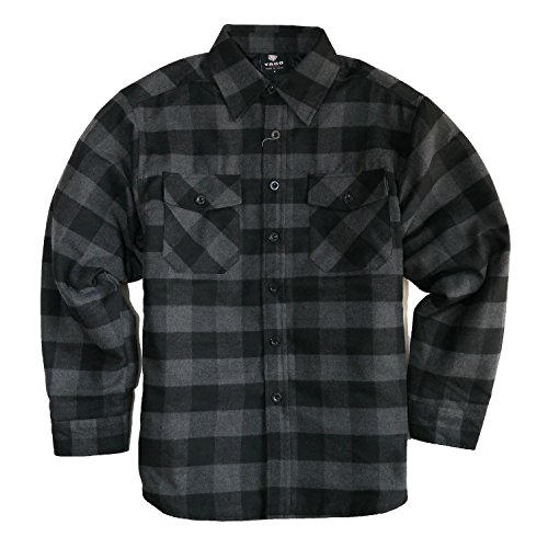 (YAGO Men's Quilted Lined Long Sleeve Flannel Plaid Button Down Shirt YG2611 (Black/Gray, 2X-Large))