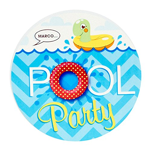 BirthdayExpress Summer Beach Ball Pool Party Supplies - Invitations (8) -