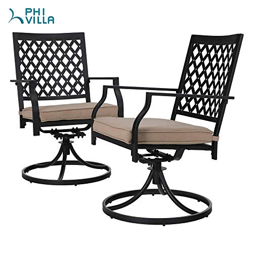 PHI Villa Patio Swivel Chair Outdoor Metal Dining Chairs Patio Furniture Sets Garden Backyard Cushion All-Weather - 2 PC
