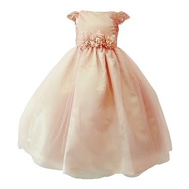 5afa202dd59 Sinai Kids Little Girls Blush Embroidered Cap Sleeve Floral Belt Flower  Girl Dress 2