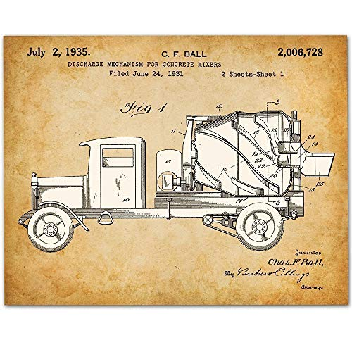 (Concrete Mixer - 11x14 Unframed Patent Print - Great Gift for Contractors or Boy's Room Decor)