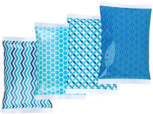 Ice Pack for Lunch Boxes - 4 Reusable Packs - Keeps Food Cold - Cool Print Bag Designs - Great for Kids or Adults Lunchbox and Cooler...