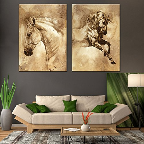 WLD_2 Pcs/Set Modern European Oil Painting Horse On Canvas Wall Art Picture Wall Pictures for Living Room Modern Wall Painting (60cm x 90 (Framed Turquoise Earrings)