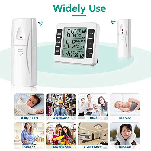 OOOUSE Refrigerator Thermometer, Indoor Outdoor Thermometer Wireless Digital Freezer Thermometer with 2 Wireless Sensors, Audible Alarm, Min/Max Record, LCD Display for Home,Restaurants,Bars,Cafes