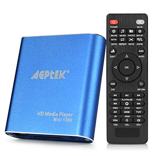 - HDMI Media Player, Blue Mini 1080p Full-HD Ultra HDMI Digital Media Player for -MKV/RM- HDD USB Drives and SD Cards