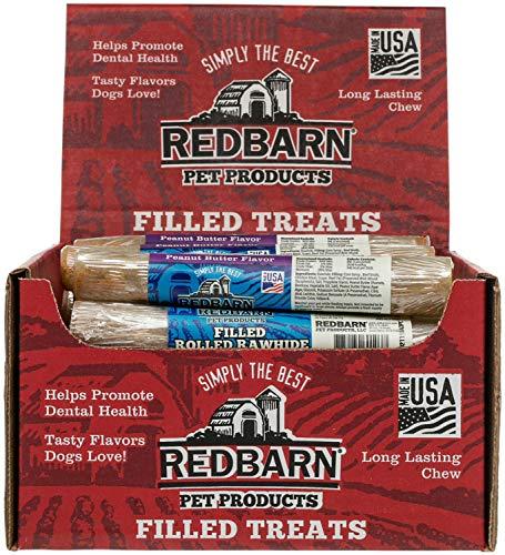 Filled Rolled Rawhide Dog Treat - REDBARN Peanut Butter Filled Rolled Rawhide Dog Chew, 24 Count