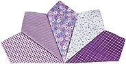 Houlife 5-10 Pieces 100% Cotton Purple Floral Printed Handkerchief Elegant Hankies for Women Ladies Girls Wedd