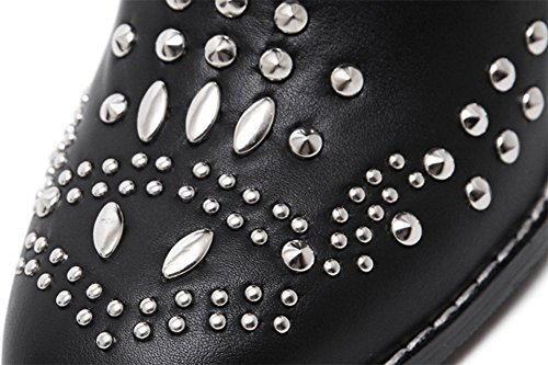 Easemax Women's Stylish Studded Round Toe Ankle High Lace Up High Top Mid Chunky Heel Boots Black mZgz1x412o