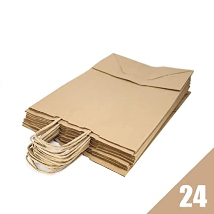 RUBY - Bolsas papel kraft marron con asa rizada, ideal para bodas, cumpleaños, navidad o fiestas, base plana (Talla M, 24 pcs)