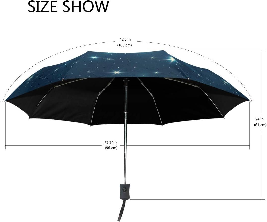Bright And Flashing Starry Sky fashion print cute Windproof automatic tri-fold umbrella sun UV protection Sun umbrella