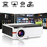Video Projector, 4200 Lumens LED, HDMI USB WiFi Ready, Support Full HD 1080p 720p, Home Cinema Theater Multimedia Android Beam, with Remote Built-in Speaker