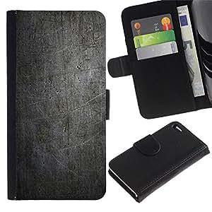 NEECELL GIFT forCITY // Billetera de cuero Caso Cubierta de protección Carcasa / Leather Wallet Case for Apple Iphone 4 / 4S // NEGRO MODELO DEL GRUNGE DE LA VENDIMIA