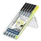 Triplus Fineliner Pens in Case, 0.3mm, Metal Clad Tip, 6/PK (5 Black + 1 Highlighter)