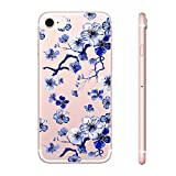 for iPhone SE Case, for iPhone 5 5S Case with flowers, FanMei Slim Shockproof Clear Floral Pattern Soft Flexible TPU Back Cover Case for iPhone 5/5S/SE - Flower Pattern 21
