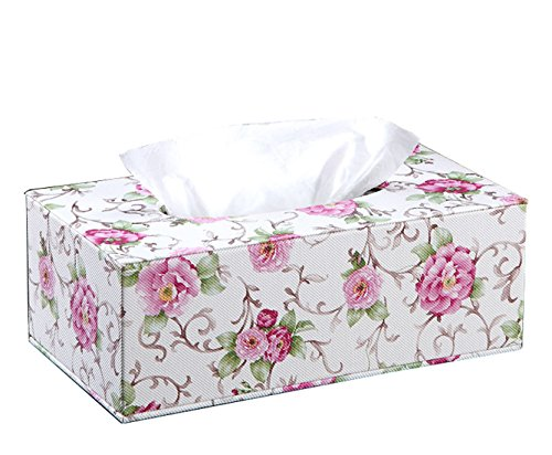 Pink Floral Pattern Tissue Holders PU Leather Tissue Box Cover Facial Tissue Refill Holder / Decorative Napkin Box Cover (Retangular L(9.85