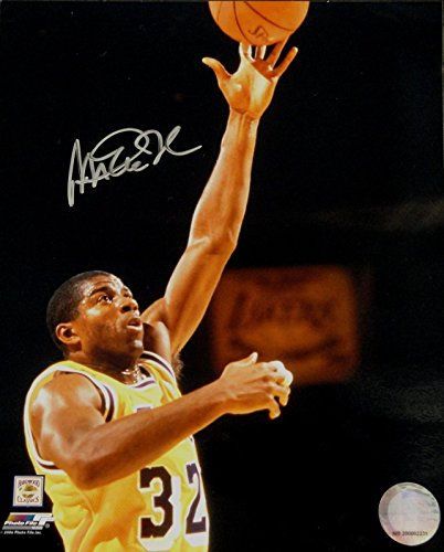 Magic Johnson Signed Autograph 8x10 Photo LA Lakers Sky Hook Shot HOF COA from Cardboard Legends Online