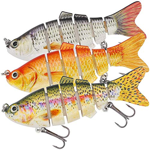 "XFISHMAN Multi Jointed Swimbaits 4"" 3D Fishing Lures for Bass Pike Lake Trout Segmented Crankbait Fishing Lure Kit (2-Multi Jointed Herring 3 Piece)"