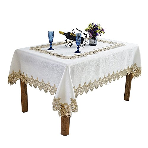 Patchwork Border - Just-Enjoy Lace Hannah 100% Polyester White Colour Tablecloth Lace Border Patchwork Decorative Rectangle 72x90