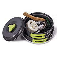 TTLIFE Camping Cookware Mess Kit Backpacking Gear &Hiking Outdoors Bug Out Bag Cooking Equipment 12 Pcs Cookset Lightweight Compact ,Durable Pot Pan Bowls& Free Folding Spork, Box &Nylon Bag (Green)
