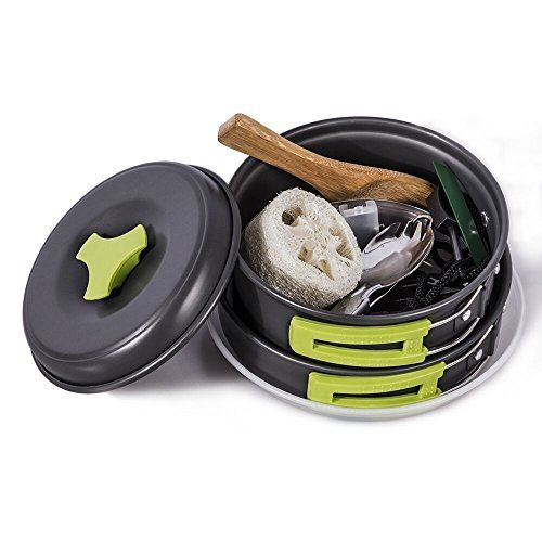 Folding Pot (TTLIFE Camping Cookware Mess Kit Backpacking Gear &Hiking Outdoors Bug Out Bag Cooking Equipment 12 Pcs Cookset Lightweight Compact ,Durable Pot Pan Bowls& Free Folding Spork, Box &Nylon Bag (Green))