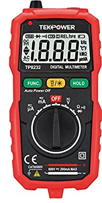 TekPower TP8232 Palm-size Auto-ranging AC/DC Digital Multimeter with Non-Contact Voltage Detector & LED Flashlight