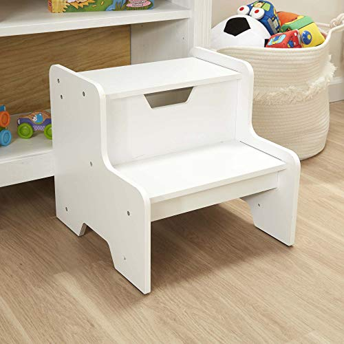Melissa & Doug Wooden Step Stool (White, Natural, Espresso Brown, Great Gift for Girls and Boys - Best for 3, 4, 5 Year Olds and Up)