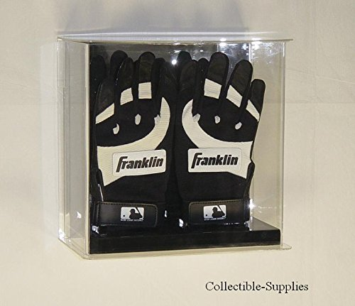 Batting Glove Case - Collectible Supplies Double Baseball Batting Gloves Wall MOUNTABLE Display Case with Mirror