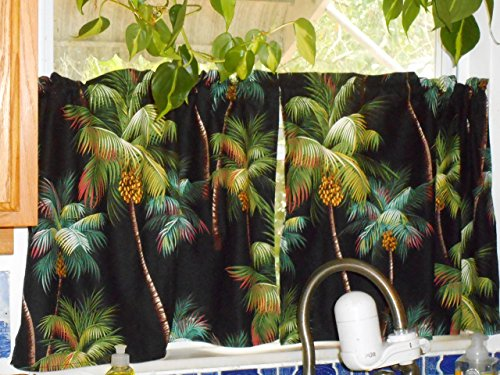 PAIR Tropical Hawaiian 100% Cotton Barkcloth Fabric CAFE' CURTAINS ~Palm Trees~