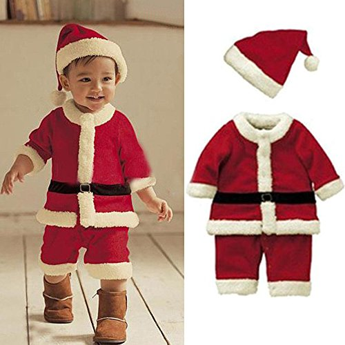 Baby Christmas Cloths Outfits Boy Girl Kids Romper Hat Cap Set Gift Body Length :90cm/35.5