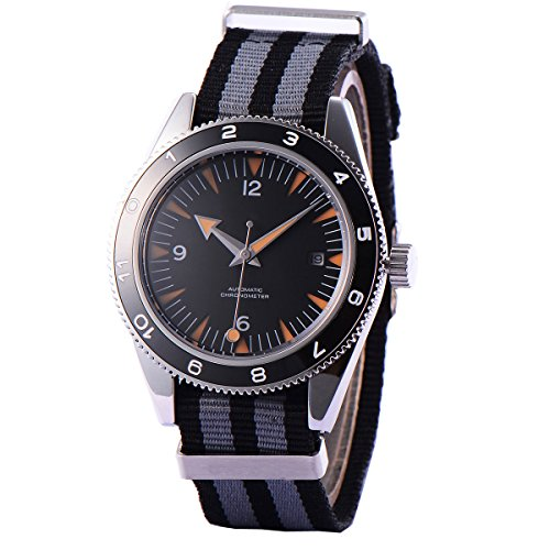 Analog Watch Men Debert 41MM Black Dial Miyota Automatic Movement Sapphire Crystal Luminous Ceramic Bezel ()