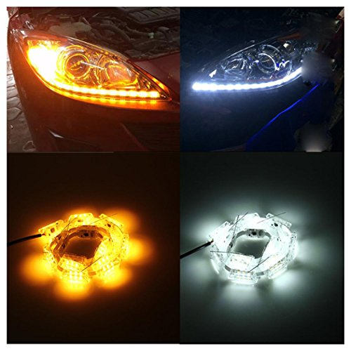 Car LED Light, Inkach 2Pcs Auto Flexible Switchback LED Rider Strip Light For Headlight Sequential Flasher Flowing Amber Turn Signal Lights