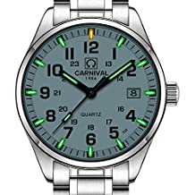 PASOY Men's Tritium Watch Green Light Swim Waterproof Sapphire Glass Stainless Steel Quartz Watches