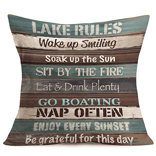 Royalours Funny Words Lake Rules Lettering Pillow Covers Cotton Linen Retro Wooden Decorative Pillowcase Cushion Cover Home Sofa 18