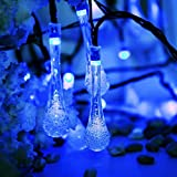 TAOtTAO Outdoor Garden Party 30 LED Raindrop Teardrop Solar Powered String Fairy Lights (Blue)